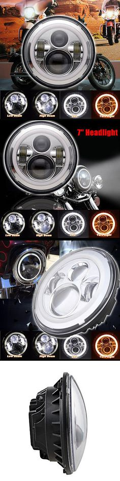 motorcycle parts: Chrome 7 Led Daymaker Projector Headlight Bulb Halo Angel Eye For Harley -> BUY IT NOW ONLY: $55.99 on eBay!