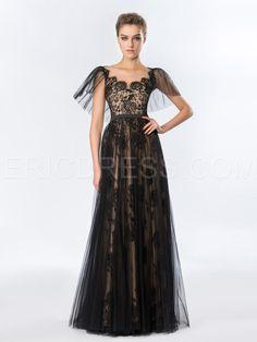 Vintage A-Line Lace Tulle Floor-Length Evening Dress  3