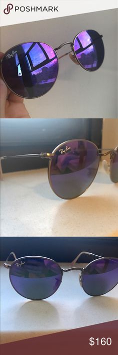 Ray-Ban Purple Round Band sunglasses Only worn once, UV protection Ray-Ban sunglasses. Black case included! Ray-Ban Accessories Sunglasses