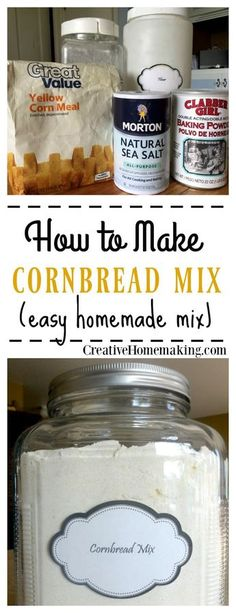 You can quickly and easily make your own cornbread from this homemade cornbread mix recipe. You can quickly and easily make your own cornbread from this homemade cornbread mix recipe. Homemade Dry Mixes, Homemade Spices, Homemade Seasonings, Homemade Food, Semi Homemade, Homemade Recipe, Homemade Breads, Diy Food, How To Make Cornbread