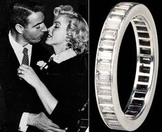 Marilyn's wedding ring which she received from Joe DiMaggio. The ring is made from platinum and it's studded with 35 baguette-cut diamonds, but has one diamond missing.