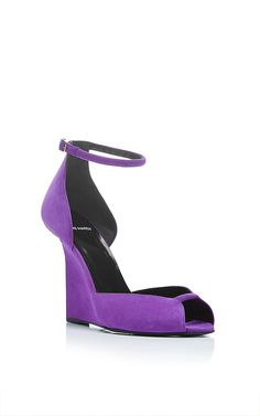 Arp Purple Suede Wedges by Pierre Hardy Now Available on Moda Operandi