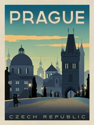 Czech Republic: Prague - We were inspired by vintage travel prints from the Golden Age of Poster Design (a glorious period spanning the late-1800s to the mid-1900s.) So we set out to create a collection of brand new international prints with a bold and adventurous feel. This lovely print celebrates the serene beauty of Prague at dusk.<br />