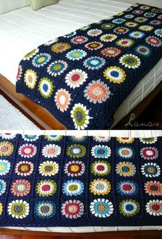 Crochet Granny Square Blankets The Blue Canvas blanket is all finished…all 108 squares and border! Crochet Blocks, Crochet Squares, Crochet Blanket Patterns, Crochet Granny, Crochet Motif, Granny Squares, Crochet Blankets, Knitting Patterns, Crochet Home