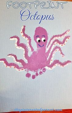 Footprint Octopus Craft - Footprint Crafts A - Z O is for Octopus