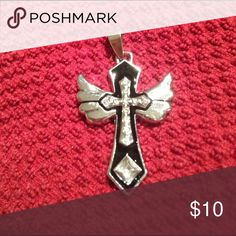 """NEW STAINLESS STEEL CRYSTAL CROSS & WINGS PENDANT NEW WITHOUT TAGS! Stainless steel cross & wings crystal pendant. Measures 1.75"""" x 1.25"""". Jewelry Necklaces"""