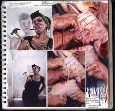 Another amazing A Level Art sketchbook page (A*) by A2 Fine Art student Claire Lynn. Partial imitation of artist works allows students to learn techniques and processes.