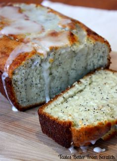 Lemon Poppy Seed Bread with a light orange glaze! I could eat an entire load by myself :-) from Tastes Better From Scratch