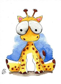 ACEO Original watercolor painting Lucia Stewart whimsical animal Baby giraffe…
