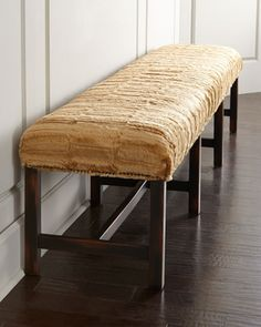 """Horchow - Nessy Bench by Old Hickory Tannery at Horchow.Wood base with stretcher for durability. Tight seat with rabbit fur upholstery (USA). Natural nailhead trim. 101.5""""W x 19""""D x 20""""T. Handcrafted in the USA."""