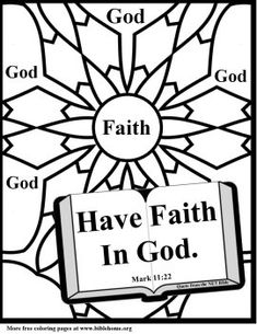 Bible (Christian) Coloring pages for sunday school- Printable coloring pages with verses on Faith