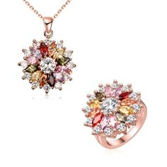 Flower Pattern Colorized Zircon Necklace Ring Women Fashion Jewelry Set