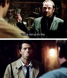 Misha and Mark LOL at Supernatural season 8 gag reel. Cas & Crowley <3