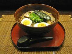 Traditional Toyko soya ramen noodle soup