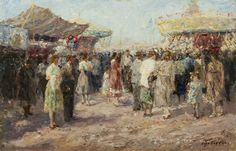 'Otto' Eduard Pippel (1878-1960) At the fair, oil on panel 33.8 x 51.6 cm., signed l.r. Collection Simonis & Buunk, The Netherlands.
