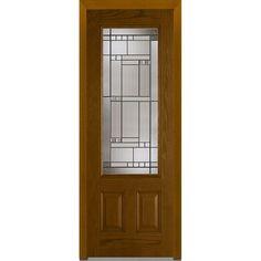 Milliken Millwork 36 in. x 96 in. Kensington Decorative Glass 3/4 Lite Finished Oak Fiberglass Prehung Front Door,