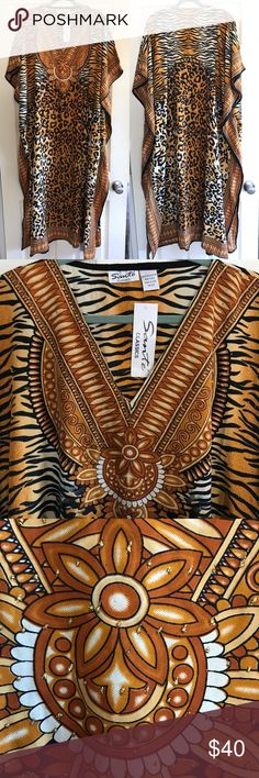 Animal Print Caftan/Kaftan Beautiful leopard and tiger print Caftan/Kaftan, made in India. Glitter detailing looks like rhinestones, but without the weight. Lovely lightweight material is super smooth against your skin. Brand new, never worn Dresses