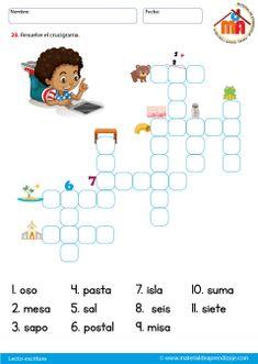"""La letra S: Lecto-escritura """"Material de aprendizaje"""" - Material de Aprendizaje Spanish Class, Learning Spanish, Acting, Diagram, Comics, Reading, School, Riddles, Puzzles"""