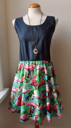 Flamingo Dress / Beautiful Turquoise Flamingo Navy Blue Contrast Dress / Tropical Flamingo Dress...