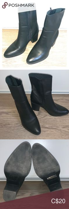Leather mid calf boot Black leather mid calf boot with side zipper. Worn once. Noted at size fits more like a 10 Primark Shoes Heeled Boots Shoes Heels Boots, Heeled Boots, Primark Shoes, Black Leather Boots, Mid Calf Boots, Block Heels, Chelsea Boots, Calves, Zipper