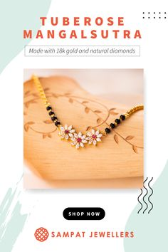 Floral diamond mangalsutra with sturdy gold chain and rubies. Traditonal Mangalsutra with black beads.