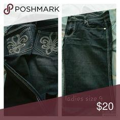 🔥Friday Sale🔥Ladies straight leg jeans Dark blue jeans with fancy pockets. Jeans Straight Leg