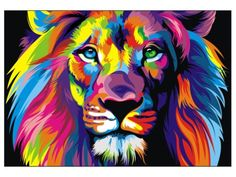 CANVAS Banksy Street Art Print RAINBOW LION PAINTING 70cm X 55
