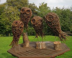 Willow Owls on Wooden Base £75 each, available to order
