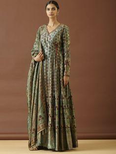 Green-Turquoise Handwoven Benarasi Silk Angrakha Kurta with Pants and Dupatta (Set of Kurti Designs Party Wear, Kurta Designs, Blouse Designs, Angrakha Style, Kurta Style, Indian Gowns Dresses, Pakistani Dresses, Long Dresses, Indian Designer Suits