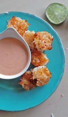 [Healthier] Coconut Shrimp with Red Curry Dipping Sauce