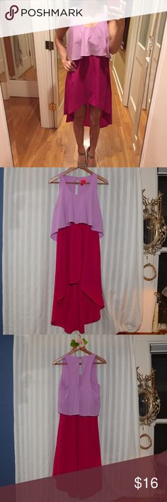 Two-tone Flowy Dress Very cute summery two-tone dress with light purple and fuchsia, top is crop top style Flowy, with dress portion shorter in front longer in the back, and hidden scrunchy chest band. Conservative beautiful neckline, with a cute button enclosure in the back. Nicely shows off legs. Never worn.  Wear for, birthday, casual outing, dinner, fancy occasion, summer, formalwear  Material: 100% polyester Forever 21 Dresses High Low