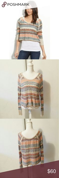 "Free people lost in the forest crop knit sweater BRAND: free people  SIZE: small  FLAW: none  COLOR: orange, Brown  DESCRIPTION: Diffused waves create colorful stripes across a soft open-weave sweater, cropped at the waist for a gentle rippling effect.  Rib-knit neck and cuffs.Base layer shown not included.Approx. length from shoulder: 20"".Cotton/linen/rayon/acrylic/other fibers/wool/mohair; hand wash.  The mannequin measurements are:  Shoulders: 15"" Chest: 34"" Waist: 26.7"" Hip: 35.4""  Use…"