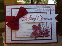 Christmas card from non-Christmas stamp set. I used Stampin' Up! Postage Due and En Francais sets