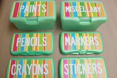 Printable labels for organizing kid craft supplies on old wipe boxes