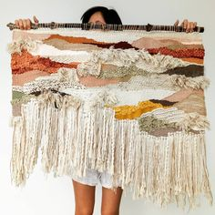 It was a choice between covering my face or covering my outrageously ugly shorts, neither of which were 'gram worthy. In the end, middle… Weaving Textiles, Weaving Art, Loom Weaving, Tapestry Weaving, Wall Tapestry, Hand Weaving, Weaving Wall Hanging, Wall Hangings, Textile Fiber Art