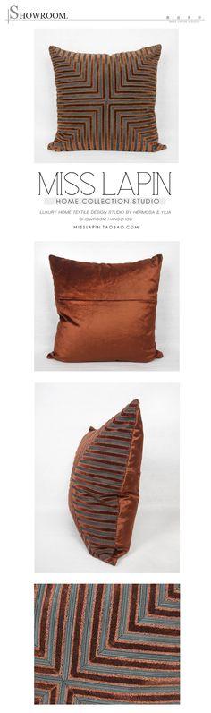 新古典/设计师样板房/沙发高档抱枕/红棕色变幻条纹割绒方枕-淘宝网