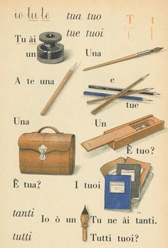 Classe prima Vintage Office, Vintage School, Vintage Cards, Vintage Toys, Italian Lessons, Stationary School, Alphabet Cards, Italian Language, Learning Italian