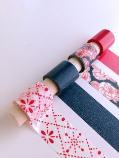 Americana Rose Washi Tape Set - A two-color floral with coordinating tape colors.