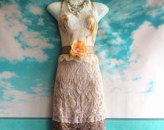 blush cream & white beaded alencon lace by mermaidmisskristin