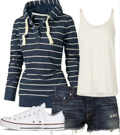 My idea of summer/fall weekend casual. Basic striped hoodie (I love hoodies), white tanktop (also love layering white tanks) denim, and low cut Chuck Taylors (I own a grey pair and plan on getting a white pair). Fashion Moda, Look Fashion, Womens Fashion, Fashion 2018, Petite Fashion, Ladies Fashion, Curvy Fashion, Fall Fashion, Looks Style