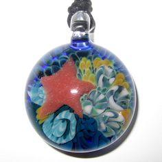 Lampworked Glass Ocean Floor Pendant by jessieglass on Etsy, $45.00