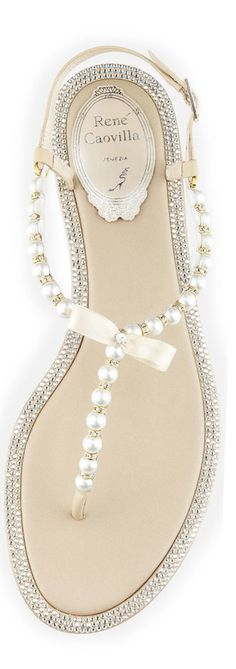 Bridal sandals - perfect for a beach wedding. adorned with crystals and pearls. http://www.theperfectpaletteshop.com/#!wedding-shoes/c2wy