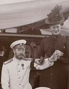 "Tsar Nicholas ll of Russia with Empress Alexandra Feodorovna of Russia. ""AL"""