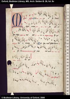 Bodleian Library, MS. Arch. Selden B. 26, fol. 8v Renaissance Music, Medieval Music, Music Manuscript, Medieval Manuscript, Illuminated Letters, Illuminated Manuscript, Early Music, Music Score, Musical