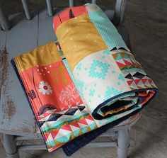 Patchwork Baby Blanket Navy Coral Mint and Gold by GiggleSixBaby
