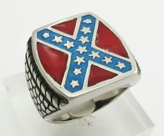 'Heritage not Hate' Steel Confederate Flag Ring (388) – SkullJewelry.com
