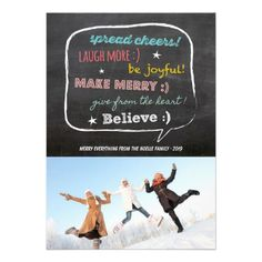 Merry Wishes Chalkboard Holiday Photo Greetings Flat Card by fatfatin