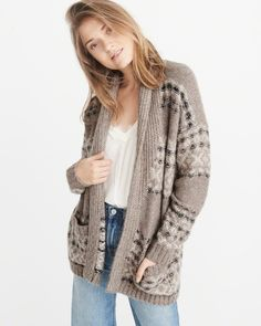 A&F Women's Airspun Patterned Shawl-Collar Cardigan