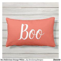 Boo Halloween Orange White Outdoor Lumbar Pillow Pillow Set, Lumbar Pillow, Bed Pillows, Halloween Boo, Outdoor Throw Pillows, Large White, Artwork Design, Favorite Color, Halloween Decorations