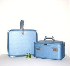 Vintage Luggage 50s Square  and Train Case by CheekyVintageCloset, $84.00